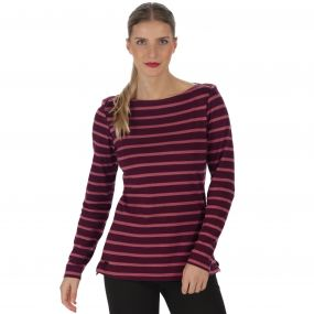 Regatta Fayola Long Sleeved Striped Coolweave Cotton T-Shirt Fig
