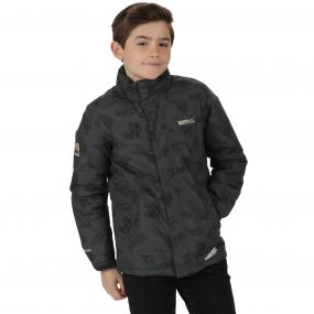 Thunderbirds Are Go Kids Dozer Printed Waterproof Insulated Hooded Jacket Seal Grey Black Print