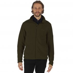 Regatta Eddard Full Zip Textured Grid Fleece Dark Khaki