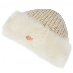 Regatta Women's Ludz Faux Fur Trim Knitted Hat Light Vanilla