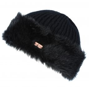Regatta Women's Ludz Faux Fur Trim Knitted Hat Black