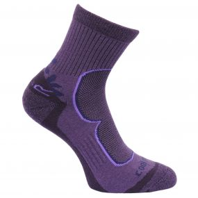 Regatta Women's 2 Pack Active Socks Blackberry-Vivacious