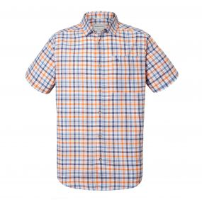 Craghoppers Holbrook Short Sleeved Check Shirt Ombre Blue