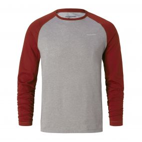 Craghoppers NosiLife Bayame Long Sleeved Tee Red Earth / Soft Grey Marl
