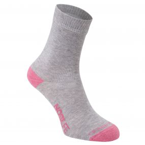 Craghoppers NosiLife Twin Sock Pack Soft Grey Marl / English Rose Stripe