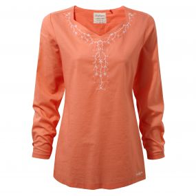 Craghoppers Rayna Long Sleeved Top Bright Papaya