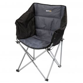 Regatta Navas Lightweight Folding Camping Chair with Storage Bag Black Seal Grey