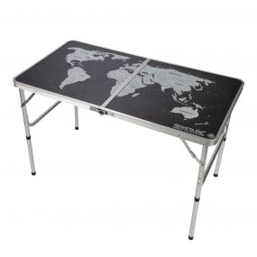 Regatta World Map BiFolding Camping Games Table Black Silver