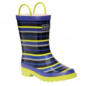 Kid's Minnow Junior Wellington Boots Surfspray Blue Lime Zest