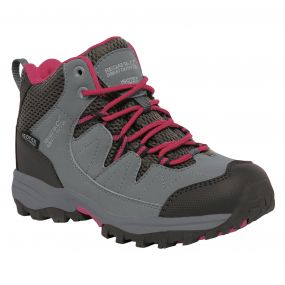 Regatta Kids Holcombe Mid Walking Boots Steel Vivacious