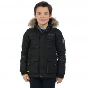Regatta Boys Capton Parka Jacket Black