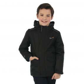 Kids Hurdle Waterproof Reflective Hooded Jacket Black