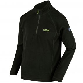 Regatta Montes Lightweight Half Zip Mini Stripe Fleece Racing Green