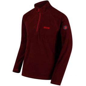 Regatta Montes Lightweight Half Zip Mini Stripe Fleece Delhi Red