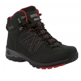 Regatta Samaris Mid Hiking Boot Black   Red