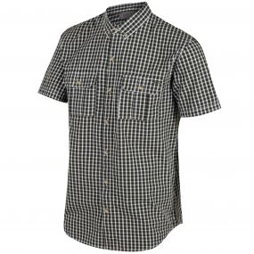 Regatta Rainor Coolweave Cotton Checked Shirt Ivy Green