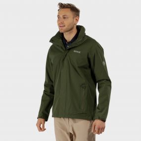 Matt Waterproof Shell Jacket with Concealed Hood Racing Green