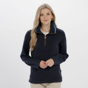 Regatta Solenne Half Zip Stripe Fleece Navy