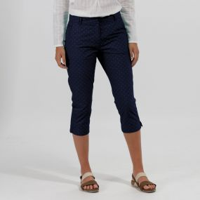 Regatta Maleena Coolweave Cotton Capris Navy