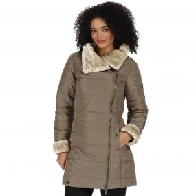 Regatta Penthea Long Length High Shine Puffer Jacket with Asymmetric Zip Sand