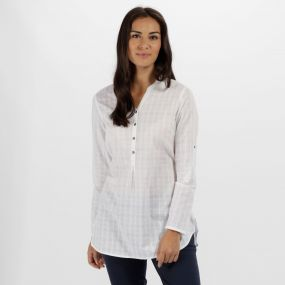 Regatta Mackayla All Over Print Coolweave Shirt White Dobby