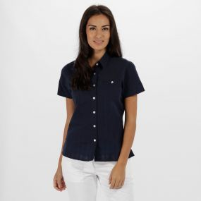 Regatta Jerbra II Coolweave Cotton Shirt Navy