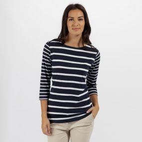Regatta Parris Coolweave Cotton T Shirt Navy White