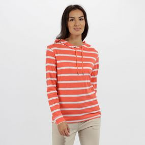 Regatta Modesta Hooded Coolweave Cotton Top Neon Peach