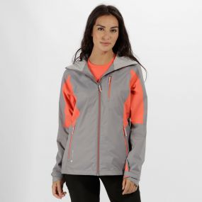 Regatta Cross Penine III Hybrid Waterproof Jacket Rock Grey Neon Peach