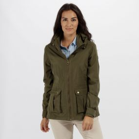 Regatta Nardia II Lightweight Waterproof Jacket with Concealed Hood Ivy Green