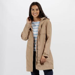 Regatta Gracelynn Long Length Lightweight Waterproof Jacket Toffee