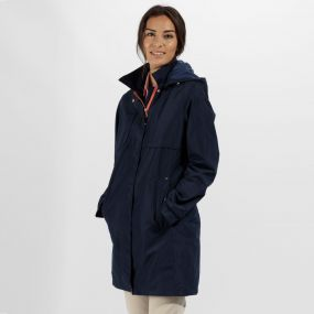 Regatta Gracelynn Long Length Lightweight Waterproof Jacket Navy