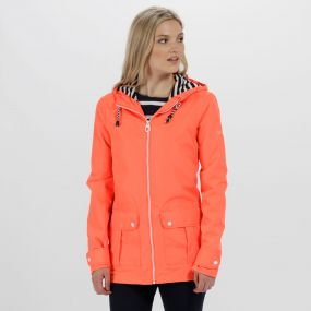 Regatta Bayeur II Lightweight Waterproof Hooded Jacket Fiery Coral