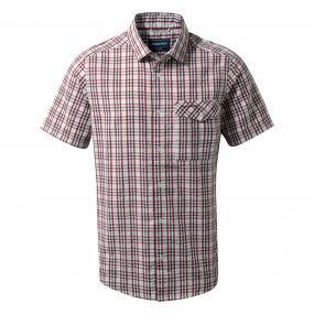 Craghoppers Warby Short Sleeved Shirt Carmine Combo
