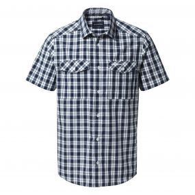 Craghoppers Crooble Short Sleeved Shirt Blue Navy Check
